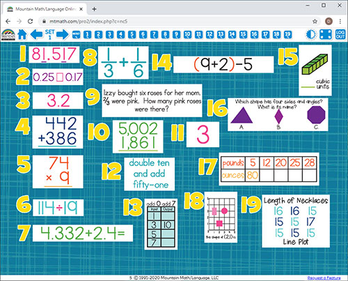 5th Grade Math Spiral Review for Interactive Whiteboard