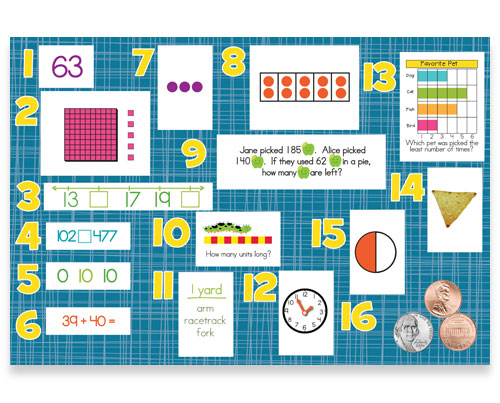 2nd Grade Math Learning Review Bulletin Board Kit