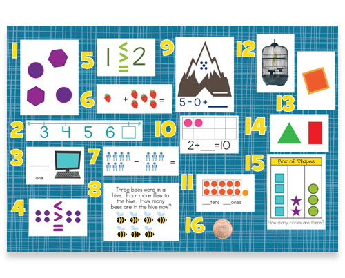 Kindergarten Math Exercises, Review Bulletin Board Kit