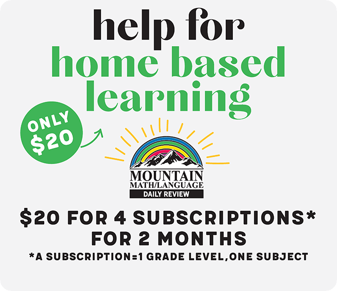 2 Months, 4 Grade/Modules, Mountain Math and/or Language Online
